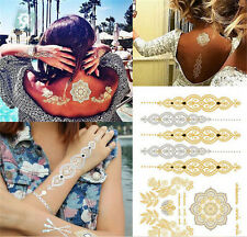 Non-toxic Waterproof bronzing Hot silver Arm Back Flower Water transfer Tattoo s