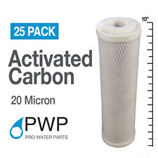 25 Pack Coconut Shell CTO Carbon Block Water Filter Cartridges 10x2.5 20Mic