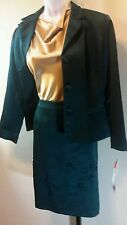 Maggie London Green Satin Skirt Suit Size 10P NWT