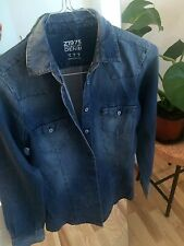 ZARA DENIM SHIRT BOYFRIEND COLLARED TOP BLOUSE 8 S TAILORED FIT FADED BLUE