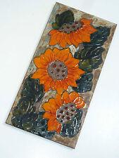 70er KERAMIKBILD WANDPLATTE HEIBI Keramik Blumen orange 70s wall plate flowers