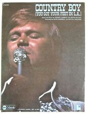 1975 Vintage Sheet Music: Glen Campbell COUNTRY BOY (You Got Your Feet In L.A.)