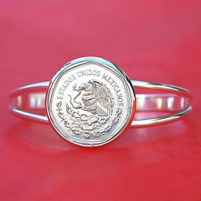 1980 Mexico 5 Pesos National Arms Eagle Coin SP Cuff Bracelet - New & Beautiful