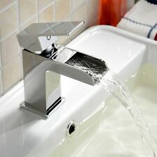 OZONE SQUARE WATERFALL BATHROOM BASIN SINK MONO MIXER CHROME TAP