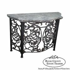 Maitland Smith Rococo Style Serpentine Wrought Iron & Brass Marble Top Console