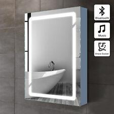 LED illuminated bathroom mirror cabinet wall Shaver Socket Bluetooth Speaker N02