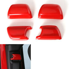 4 Pcs ABS Car Seat Side Safety Belt Cover Trim Cap Red For Wrangler 08-2016