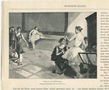 ANTIQUE VICTORIAN BALLERINA BALLET DANCER KNITTING KNIT NEEDLES MUSICIAN PRINT