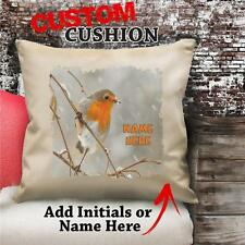 Personalised Robin Bird Winter Vintage Cushion Custom Canvas Cover Gift NC146