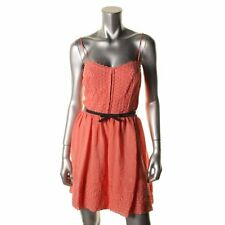 CITY STUDIO NWT Coral Pink Spaghetti Strap Eyelet Belted Sleeveless Dress 11 $69