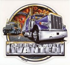 RARE TRUCKER BIG RIG AMERICA'S MOST WANTED SEMI TRUCK VINYL STICKER/DECAL By ODM