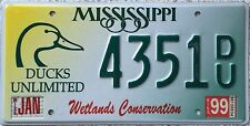 FREE UK POSTAGE Mississippi Ducks Unlimited Wetlands License Number Plate 4351