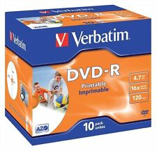 Verbatim DVD-R 4.7GB 16x Speed 120min Inkjet Printable AZO Jewel Pack 10 (43521)