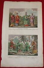 1790 Antique Print CHINESE COSTUME FASHION Engraving HAND COLORED Mandarin DRESS