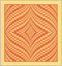 "~ HOT NEW QUILT PATTERN ~ WAVY STRIP PIECED BARGELLO  ~  91""X98"""
