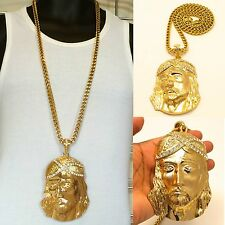 "MENS X-LARGE GOLD JESUS PENDANT 36"" 8mm STAINLESS STEEL FRANCO CHAIN NECKLACE"