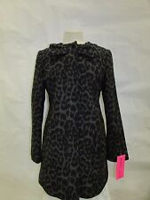 Betsey Johnson Coat Small Collarless Ocelot Leopard Print Wool Jacket X194B