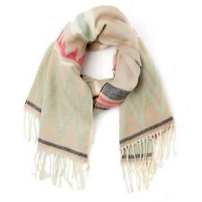 Anthropologie Tan, Yellow, Mint Green Cozy Fringe LONG BLANKET Scarf NEW