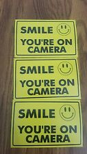 VIDEO SURVEILLANCE Security Decal  Warning Sticker (smile you're )set of 5 pcs .