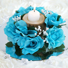 8 Turquoise CANDLE RINGS with SILK ROSES Wedding Flowers for Centerpieces