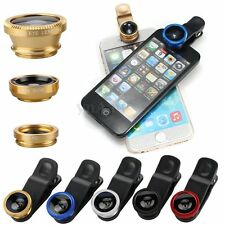 3in1 Fish Eye+Wide Angle+Macro Clip Lens Kit for iPhone 6S/6/plus for Samsung S6