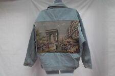 vtg Express Exp tapestry Arch de Triumph paris france denim jean jacket M L