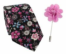 Michelsons of London Cravatta Fiore Rosa Cotton & bavero Pin Set