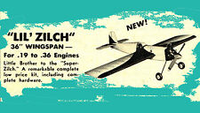 "Model Airplane Plans (UC): Berkeley LIL' ZILCH 36"" Stunt for .19-.36 (1948)"