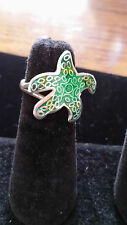 "99.9 Pure Sterling Silver Artisan Green Enamel Starfish Ring Size 8 1/2"" USA"