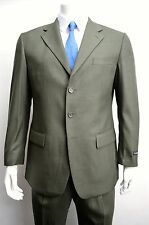 Men's Olive Green 3 Button Wool Blend Dress Suit Size 48L NEW Suit