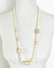 CAROLEE LUX 'Life Of The Party' Glass Pearl Pave Rondelle Rope Long Necklace$175