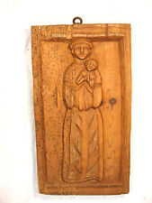 "20"" Antique Carved Wormwood Folk Art St Anthony Primitive Wood Panel Statue"
