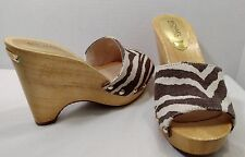 NEW MIchael Kors 8 M Brown Beige Zebra Canvas Gold Stud Open Toe Wooden Wedges