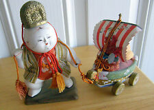 1950 KYO-NINSYO GOSHO DOLL PALACE CHILD WITH BOAT  RARE AS IS