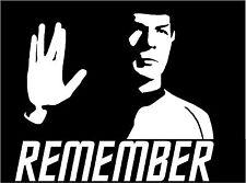 Remember Leonard Nimoy Spock, Cut Vinyl Window Sticker, Star Trek