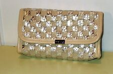 Mally Beauty Tan & Silver Make up Cosmetics Bag / Cell Purse / Clutch (new)