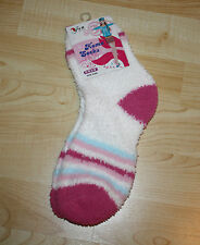 Fuzzy Ladies White Socks Rose, Pink, Blue Stripe Over Ankle Teens