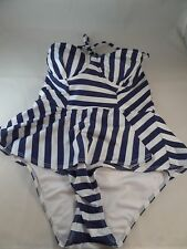 NWT Lolli Beauty on the Shore Striped Perplum 1pc Swimsuit Size Medium