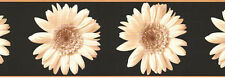Large Sepia Beige Gerbera Daisy Flower Floral Black Tan Wall paper Border