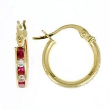 14K GOLD  HOOP EARRING WITH WHITE & RED CZ STONES  ON SALE FOR THIS WEEK ONLY