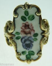 VINTAGE HAND PAINTED TALL WHITE ENAMEL ROSES  GOLD OVER STERLING RING SIZE 6