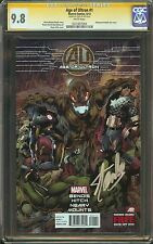 Age of Ultron #1 CGC 9.8 NM/MT SIGNED STAN LEE Avengers Embossed metallic Bendis