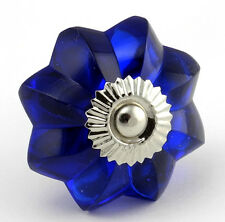 8 Glass Cabinet Knobs Cobalt Blue Kitchen Hardware Drawer Pull Handles #K64-2NDS