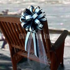 6 Black White Pull Bows 6 Tails Church Pew Chair Wedding Centerpiece Decoration