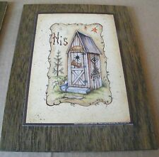 "7x9"" Wood Country Primitive OUTHOUSE Bathroom HIS Welcome Wait Bath Decor Sign"