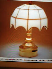 Dollhouse Miniature  Lighting - BATTERY OPERATED - BRASS TABLE LAMP 1:12