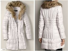 Eddie Bauer GOOSE DOWN Resort Parka Faux Fur Collar TRENCH JACKET 550FP M $299