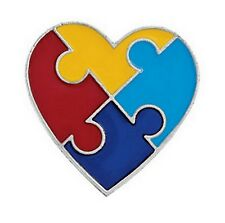 Autism Awareness Pin Puzzle Piece Heart Brooch Lot of 6
