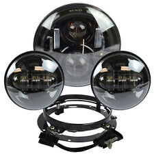 "7"" Black LED Projector Daymaker Headlight + Passing Lights For Harley Touring B2"