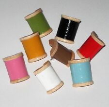 HAND PAINTED WOODEN SPOOL PUSH PINS SEWING CRAFT ROOM BULLETIN CORK MEMORY BOARD